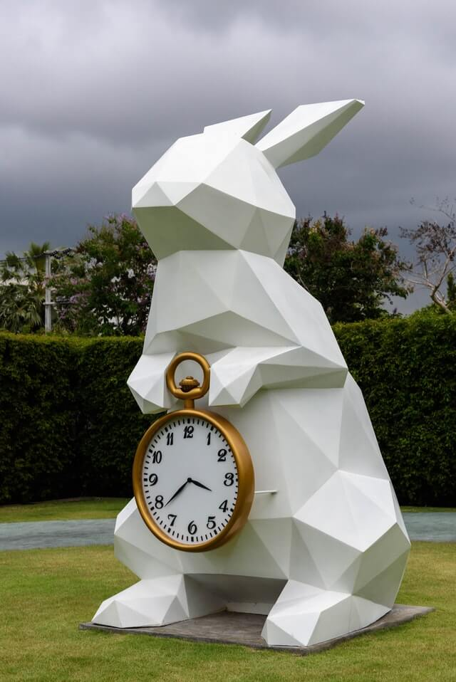 Rabbit holding a clock
